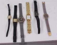 6 MEN'S WATCHES INCLUDING GUCCI AND WRANGLER