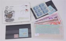 LOT INCLUDING FOREIGN CURRENCY, U.S. STAMPS AND SUSAN B ANTHONY FIRST DAY COVERS