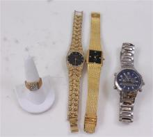 3 MEN'S WATCHES AND GOLDTONE RING