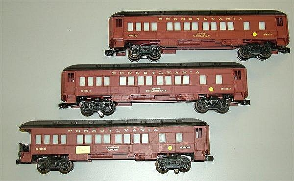 LIONEL 9507, 9508,9509 PENNSYLVANIA RR  3 CAR PASSENGER SET