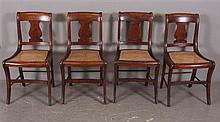 4 VASE BACK CANED-SEAT CURLY MAPLE CHAIRS, 32