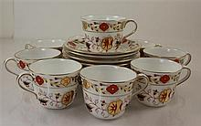 9 ROYAL CROWN DERBY ASIAN ROSE CUP AND SAUCER SETS