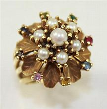 STAMPED 14K YELLOW GOLD PEARL AND MULTI GEMSTONE ACCENTED FASHION RING, SIZE 6, 12.5 GRAMS TOTAL
