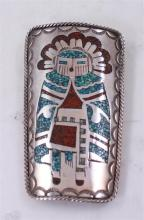 SIGNED NAKAI NATIVE AMERICAN STERLING SILVER INLAY BROOCH/PENDANT WITH INLAY TURQUOISE AND CORAL, 3 1/4