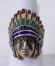 SILVER ENAMELED NATIVE AMERICAN CHIEF STYLE RING, SIZE 9 3/4