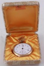LONVILLE GOLD FILLED OPEN FACE POCKET WATCH 48 MM DIAMETER WITH BOX