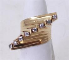 STAMPED 14K YELLOW GOLD CONTEMPORARY  DIAMOND ACCENTED FASHION RING, SIZE 6 1/2, 12.8 GRAMS TOTAL
