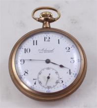 TACY CO ADMIRAL OPEN FACE GOLDTONE 7 JEWELS POCKET WATCH, 50 MM DIAMETER