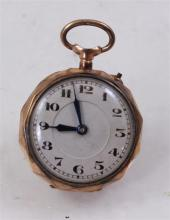 STAMPED 12K YELLOW GOLD OPEN FACE PENDANT WATCH WITH ENAMEL DECORATED CASE