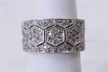 STAMPED 18K WHITE GOLD WIDE PAVE DIAMOND ACCENTED BAND, SIZE 7, 8.6 GRAMS TOTAL