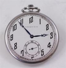 SIGNED TIFFANY & CO, C.H. MEYLAN BRASSUS, SWISS PLATINUM OPEN FACE 19 JEWELS, MOVEMENT #35514 POCKET WATCH, 45 MM DIAMETER, 51.6 GRA...