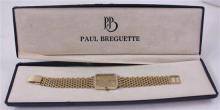 STAMPED 14K YELLOW GOLD PAUL BREGUETTE QUARTZ MEN'S WATCH WITH DIAMOND BEZEL, 7 1/2