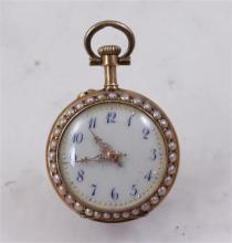 STAMPED 18K YELLOW GOLD ENAMELED DECORATED OPEN FACE WATCH WITH PEARL AND DIAMOND ACCENTS, 24 MM DIAMETER, 16.2 GRAMS TOTAL