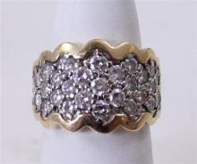 STAMPED 14K TWO TONE GOLD APPROX 1.67 CT TW DIAMOND CLUSTER RING, SIZE 6,  8.5 GRAMS TOTAL, REPLACEMENT VALUE $2,195.00