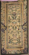 ANTIQUE SILK EMBROIDERED PANEL WITH ADDED BORDER AND COA, OVERALL SIZE 14