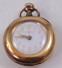SIGNED TIFFANY & CO 18K YELLOW GOLD OPEN FACE MOVEMENT #982525 PENDANT WATCH, 29 MM DIAMETER