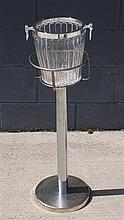 CHROME CHAMPAGNE BUCKET STAND WITH GODINGER CRYSTAL AND SILVERPLATE BUCKET