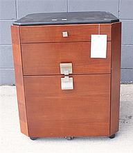DOWNTOWN MOBILE FILE CABINET WITH LEATHER TOP