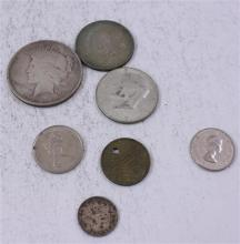 LOT INCLUDING 4 FOREIGN COINS, 1924 PEACE DOLLAR, AND (2) 40% KENNEDY HALF DOLLARS
