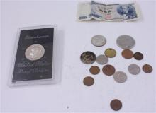LOT INCLUDING FOREIGN COINS AND CURRENCY, EISENHOWER PROOF DOLLAR, (2) 40% KENNEDY HALF DOLLARS, AND 5 PENNIES
