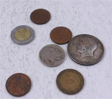 LOT INCLUDING 5 FOREIGN COINS, (1) 40% KENNEDY HALF DOLLAR, AND 1 BUFFALO NICKEL