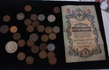 LOT INCLUDING 1 FOREIGN CURRENCY, (1) 40% KENNEDY HALF DOLLAR, 3 NICKELS, 2-CENT PIECE, AND 25 PENNIES