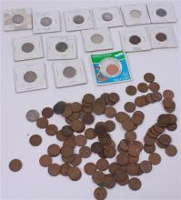 LOT INCLUDING FOREIGN COINS, 2 HALF DOLLARS (ONE FRANKLIN), 4 SILVER DIMES,  3 NICKELS, AND 119 PENNIES