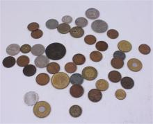 LOT INCLUDING TOKENS, FOREIGN COINS, 1 MERCURY DIME, 4 NICKELS, AND 19 INDIAN HEAD AND WHEAT PENNIES