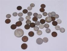 LOT INCLUDING 21 FOREIGN COINS, (1) 40% KENNEDY HALF DOLLAR, 22 SILVER DIMES, AND 2 WHEAT PENNIES