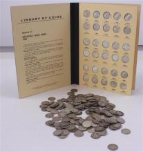 LOT 196 SILVER DIMES AND ROOSEVELT ALBUM 1946- * WITH 67 COINS