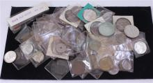 LOT FOREIGN COINS INCLUDING SOME SILVER