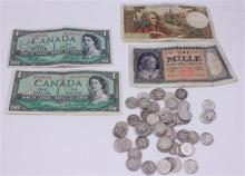 LOT INCLUDING 4 FOREIGN CURRENCY AND 50 SILVER DIMES