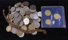 LOT INCLUDING BRASS CHAIN AND FOREIGN COINS