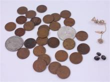 LOT 4 FOREIGN COINS, 27 PENNIES, SOROITY PIN, AND UNMOUNTED STONES