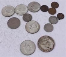 LOT INCLUDING 2 FOREIGN COINS, PENDANT, (5) 40% KENNEDY HALF DOLLARS, 3 NICKELS, AND 3 PENNIES