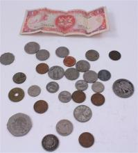 LOT INCLUDING FOREIGN COINS AND CURRENCY, 1 WALKING LIBERTY HALF DOLLAR, 1 QUARTER, 3 MERCURY DIMES, 8 BUFFALO AND V NICKELS, 1 STEE...