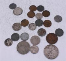 LOT INCLUDING 4 FOREIGN COINS, 1 WALKING LIBERTY HALF DOLLAR, 4 DIMES (3 SILVER), 1 BUFFALO NICKEL, AND 13 PENNIES