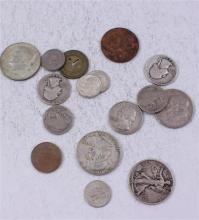LOT INCLUDING TOKEN, 4 FOREIGN COINS, 2 SILVER HALF DOLLARS, (1) 40% KENNEDY HALF DOLLAR, 3 QUARTERS, 3 DIMES, AND 2 BUFFALO NICKELS