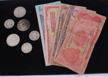 LOT FOREIGN CURRENCY, 2 HALF DOLLARS, 40%  HALF DOLLAR, AND 3 SILVER QUARTERS