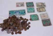 LOT INCLUDING FOREIGN COINS AND CURRENCY, 12 SILVER NICKELS, 1 LARGE CENT, AND 323 PENNIES