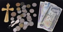 LOT FOREIGN CURRENCY ($16 FACE VALUE CANADA), COINS, CRUCIFIX, AND HAT PIN