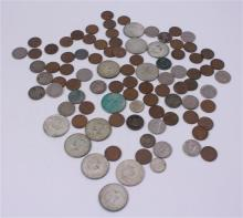 LOT INCLUDING FOREIGN COINS, (12) 40% KENNEDY HALF DOLLARS, 4 SILVER NICKELS, AND 53 PENNIES   **Not Available For Online Bidding**