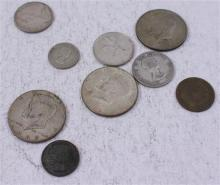 LOT INCLUDING 5 FOREIGN COINS, (3) 40% KENNEDY HALF DOLLARS, AND 1 PENNY