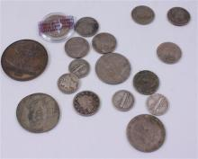 LOT INCLUDING 4 FOREIGN COINS, 1 QUARTER, 4 SILVER DIMES, AND 8 SILVER NICKELS