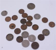 LOT INCLUDING FOREIGN COIN, 8 NICKELS (7 V NICKELS), AND 15 WHEAT PENNIES