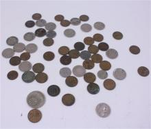 LOT INCLUDING 6 FOREIGN COINS, 14 BUFFALO NICKELS, 2 V NICKELS, 2 SILVER JEFFERSON NICKELS, 1 INDIAN HEAD PENNY, AND 30 WHEAT PENNIES