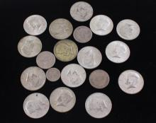 LOT INCLUDING 4 FOREIGN COINS AND (15) 40% KENNEDY HALF DOLLARS