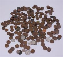 LOT INCLUDING FOREIGN COINS, TOKENS, AND 207 PENNIES