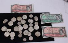 LOT INCLUDING 3 CANADIAN CURRENCY, FOREIGN COINS, (14) 40% KENNEDY HALF DOLLARS, AND 1 BUFFALO NICKEL
