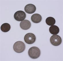 LOT INCLUDING 2 FOREIGN COINS, 2 QUARTERS (1 DRILLED),  4 V NICKELS, AND  3 PENNIES